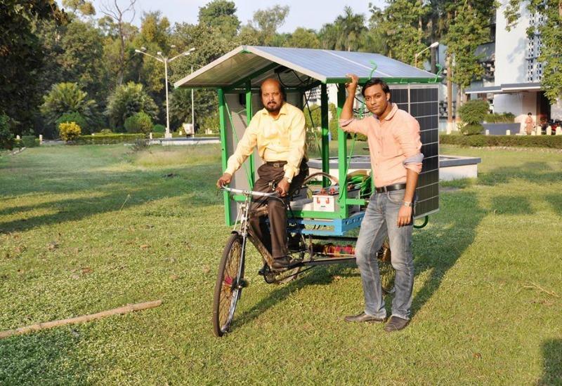 Sibnath Maity with his portable solar pump